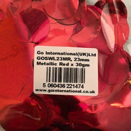 23mm Metallic Red Circular Confetti 30g