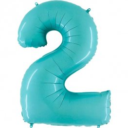 "40"" Pastel Blue Number 2 Supershape Balloons"