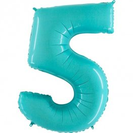 "40"" Pastel Blue Number 5 Supershape Balloons"