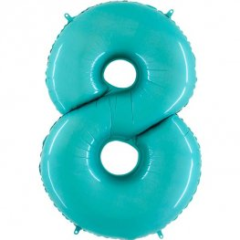 "40"" Pastel Blue Number 8 Supershape Balloons"