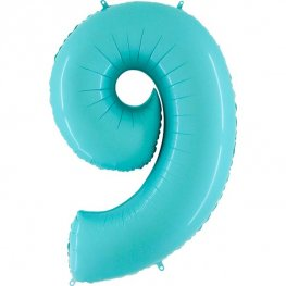 "40"" Pastel Blue Number 9 Supershape Balloons"