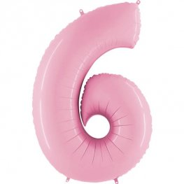 "40"" Grabo Pastel Pink Number 6 Supershape Balloons"