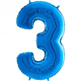 "26"" Blue Number 3 Shape Balloons"
