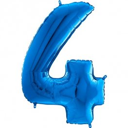 "26"" Blue Number 4 Shape Balloons"