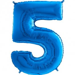 "26"" Blue Number 5 Shape Balloons"