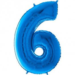 "26"" Blue Number 6 Shape Balloons"
