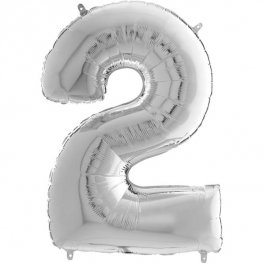"26"" Silver Number 2 Shape Balloons"