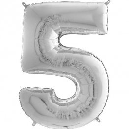 "26"" Silver Number 5 Shape Balloons"