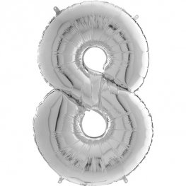 "26"" Silver Number 8 Shape Balloons"