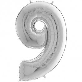 "26"" Silver Number 9 Shape Balloons"