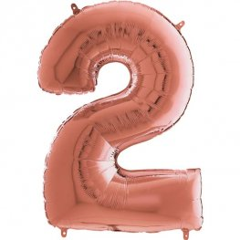 "26"" Grabo Rose Gold Number 2 Shape Balloons"