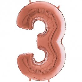 "26"" Grabo Rose Gold Number 3 Shape Balloons"