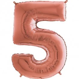 "26"" Grabo Rose Gold Number 5 Shape Balloons"