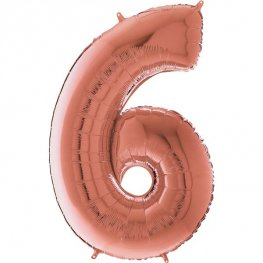 "26"" Grabo Rose Gold Number 6 Shape Balloons"
