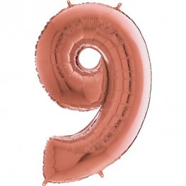 "26"" Grabo Rose Gold Number 9 Shape Balloons"