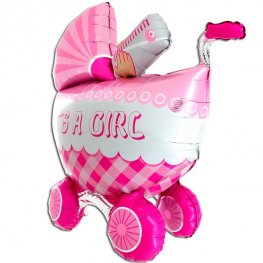 3D Its A Girl Buggy Shape Balloons