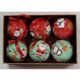 Green And Red Christmas Baubles 6 Pack
