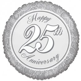 "18"" Happy 25th Wedding Anniversary Foil Balloons"