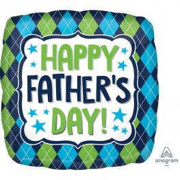 "18"" Happy Fathers Day Argyle Foil Balloons"