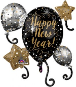 Happy New Year Balloon Cluster Super Shape Balloons