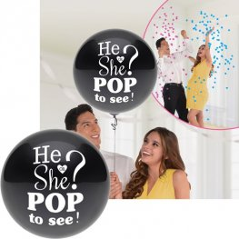 "24"" He Or She Pop To See Latex Balloon 1pk"