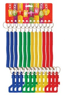 Spiral Coloured Keychain x12