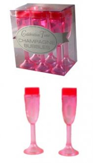 Pink Champagne Glass Bubbles x6