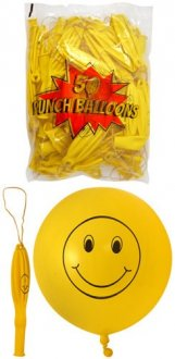 "18"" Smile Face Printed Punch Ball Balloons 50pk"