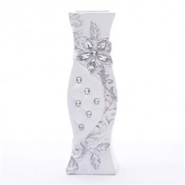 White With Silver Vase