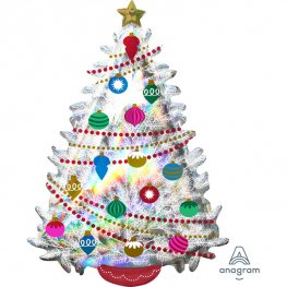 Iridescent Christmas Tree Supershape Balloons