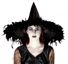 Witches Sequined Hat With Feathers