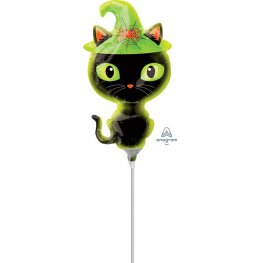 "14"" Black Kitty Mini Shape Air Filled Balloons"