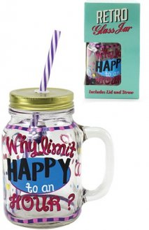 Happy Hour Jam Jar Glass