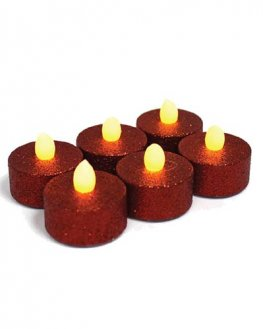 Red Glitter LED Candles