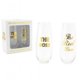The Boss And The Real Boss Stemless Flutes