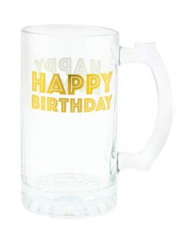 Gold Celebration Happy Birthday Tankard Glass