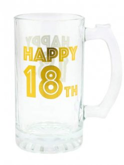 Gold Celebration 18th Tankard Glass