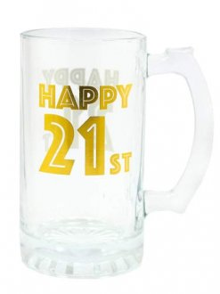 Gold Celebration 21st Tankard Glass