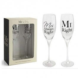 Mr And Mrs Right Champagne Flutes Set Of 2