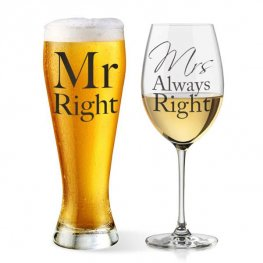 Mr Right And Mrs Always Right Glasses Set