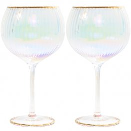 Lustre Ribbed Gin Glasses Set Of 2