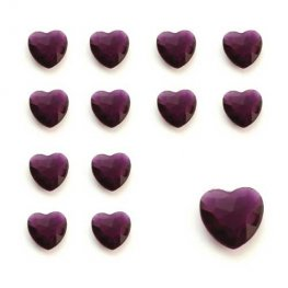 Burgundy Heart Shaped Diamantes