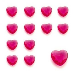 Cerise Heart Shaped Diamantes