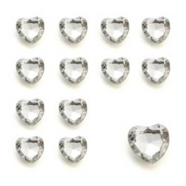 Silver Heart Shaped Diamantes