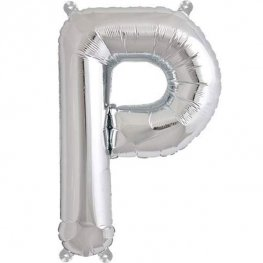 "16"" P Letter Silver Air Filled Balloon"