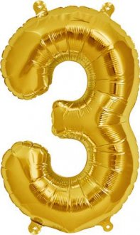 "16"" Number 3 Gold Air Filled Balloons"