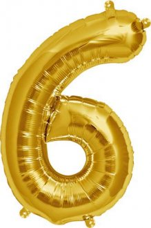 "16"" Number 6 Gold Air Filled Balloons"