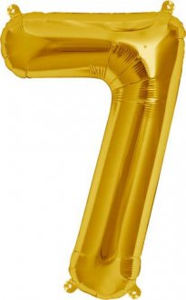 "16"" Number 7 Gold Air Filled Balloons"
