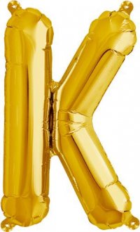 "16"" Letter K Gold Air Filled Balloons"