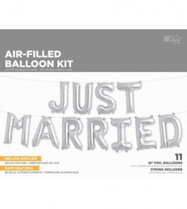 "16"" Just Married Silver Balloons Kit"